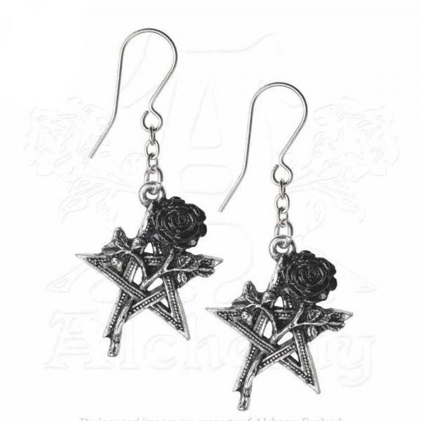 ALCHEMY GOTHIC Black Pentagram Rose Earrings - Ruah Vered
